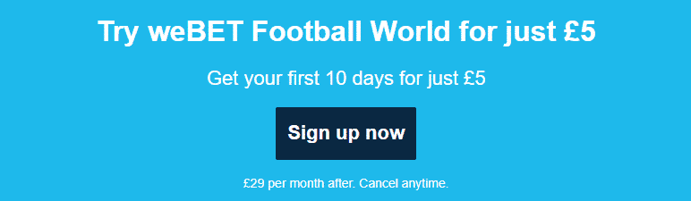 join weBET Football World and get a trial offer now