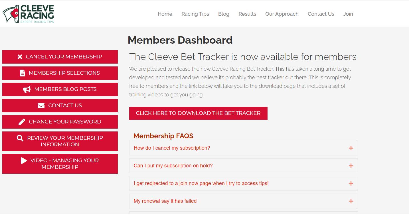 cleeve racing membership dashboard